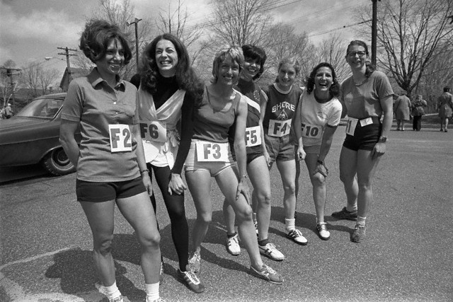 17 Apr 1972, Boston, Massachusetts, USA --- For the first time in the history of the BAA Marathon women were allowed to enter the 26-mile 385-yard run from Hopkinton to Boston. The happy female runners are (l-r) Nina Kuscik, Boston; Kathy Miller, Syracuse, N.Y.; Elaine Pedersen, San Francisco; Ginny Collins, Boston; Pat Barrett Shore, Athletic Club, N.J.; Frances Morrison, Dallas and Sara Mae Berman of Cambridge, MA. --- Image by © Bettmann/CORBIS