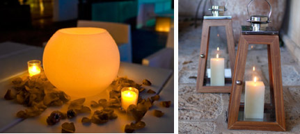 velas de veladecor izquierda y faroles de decoragloba derecha