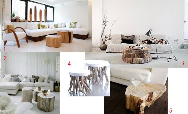 Decorar con troncos y ramas la casa de cora for Mesas de troncos de arboles