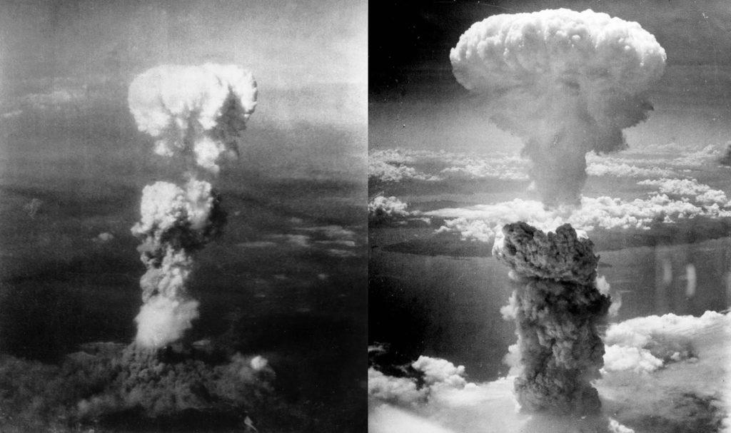 Hongos atómicos de Hiroshima y Nagasaki, respectivamente. Wikipedia.