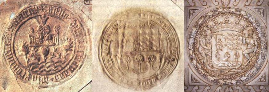 1. Sello de 1463. 2. Sello de 1513. 3. Talla de 1596.