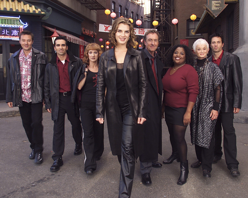 Suddenly Susan - Season 4 (1999) - Gallery - Pictured: (l-r) Currie Graham as Nate Knaborski, Nestor Carbonelle as Luis Rivera, Kathy Griffin as Vicki Groener, Brooke Shields as Susan Keane, Eric Idle as Ian Maxtone-Graham, Sherri Shepherd as Miranda Charles, Barbara Barrie as Helen 'Nana' Keane, Rob Estes as Oliver Browne. Photo by Kevin Foley/NBCU Photo Bank/ABACAPRESS.COM Ref: 142271 REPORTERS / abaca