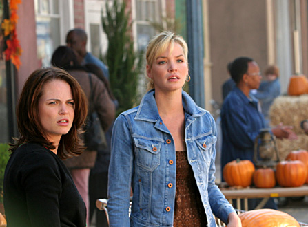 """Long Live the Mayor"" -- Jericho Emily (Ashley Scott, right) and Heather (Sprague Grayden, left) prepare to create a normal Halloween celebration, on JERICHO, scheduled to air on the CBS Television Network. Photo: Robert Voets/CBS ©2006 CBS Broadcasting Inc. All Rights Reserved."