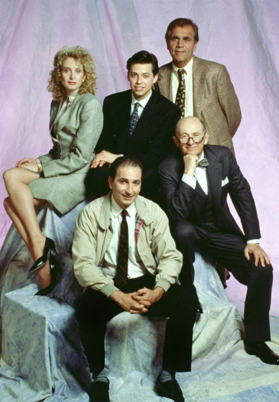 THE FAMOUS TEDDY Z, (clockwise from top left): Jane Sibbett, Jon Cryer, Alex Rocco, Milton Selzer, Tom LaGrua, 1989-90, © ELP Communications