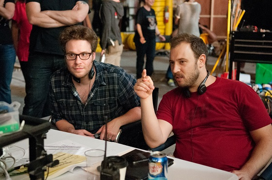"""Co-Directors Seth Rogen, left, and Evan Goldberg on the set of Columbia Pictures' """"The End of The World,"""" starring Seth Rogen and Jay Baruchel."""