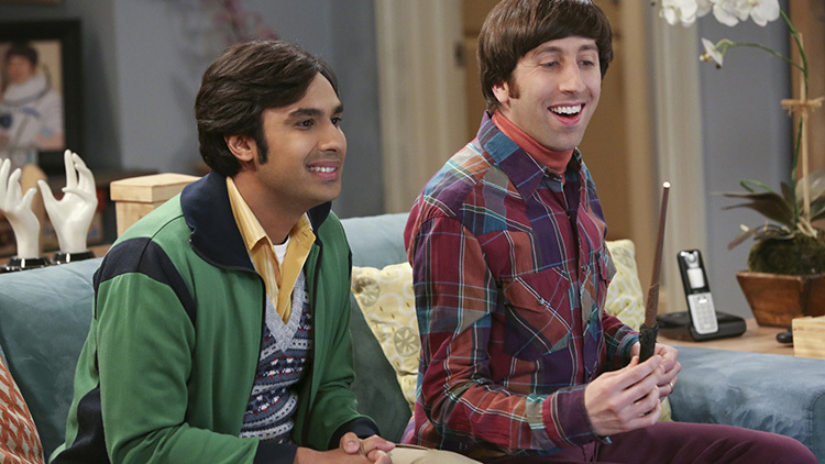 """""""The Table Polarization"""" -- Wolowitz is offered a chance to go back to space and Bernadette struggles with whether or not to encourage him, on THE BIG BANG THEORY, Thursday, Feb. 27 (8:00 – 8:31 PM, ET/PT) on the CBS Television Network. Pictured left to right: Kunal Nayyar and Simon Helberg Photo: Michael Yarish/Warner Bros. Entertainment Inc. © 2014 WBEI. All rights reserved."""